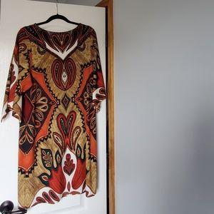 Chicos paisley print kimono sleeve midi dress